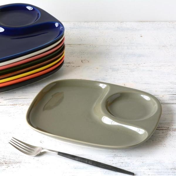 二つ仕切り ランチプレート 23cm 全9color  取り皿 おしゃれ お皿 皿 食器 プレート オシャレ 陶器 美濃焼き 可愛い 北欧 日本製|long-greenlabel|28