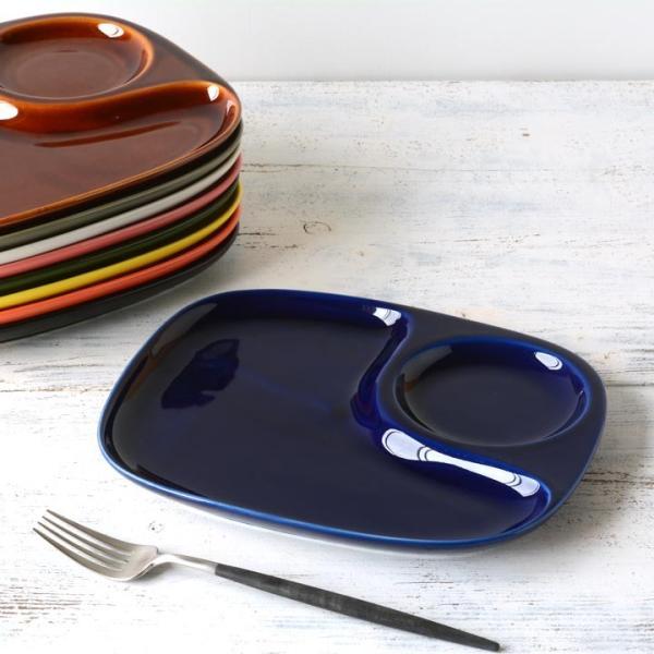 二つ仕切り ランチプレート 23cm 全9color  取り皿 おしゃれ お皿 皿 食器 プレート オシャレ 陶器 美濃焼き 可愛い 北欧 日本製|long-greenlabel|23