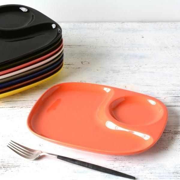 二つ仕切り ランチプレート 23cm 全9color  取り皿 おしゃれ お皿 皿 食器 プレート オシャレ 陶器 美濃焼き 可愛い 北欧 日本製|long-greenlabel|24