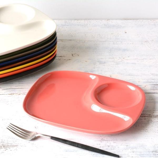 二つ仕切り ランチプレート 23cm 全9color  取り皿 おしゃれ お皿 皿 食器 プレート オシャレ 陶器 美濃焼き 可愛い 北欧 日本製|long-greenlabel|27