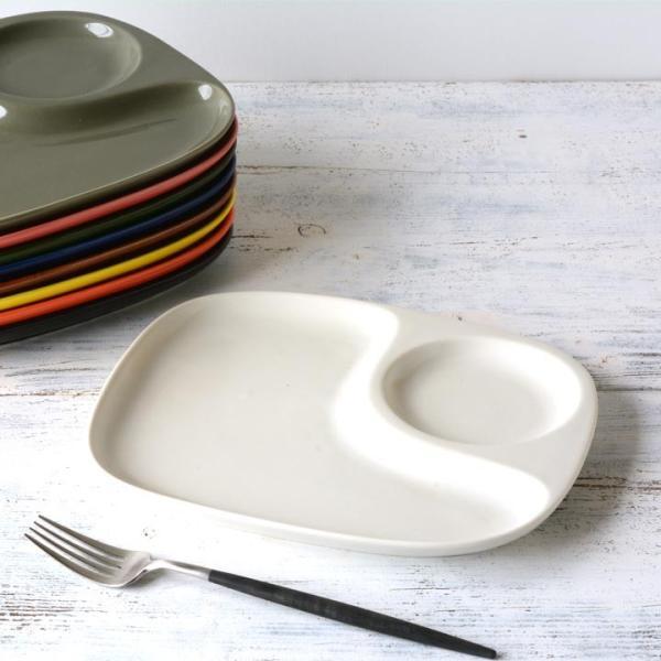 二つ仕切り ランチプレート 23cm 全9color  取り皿 おしゃれ お皿 皿 食器 プレート オシャレ 陶器 美濃焼き 可愛い 北欧 日本製|long-greenlabel|20