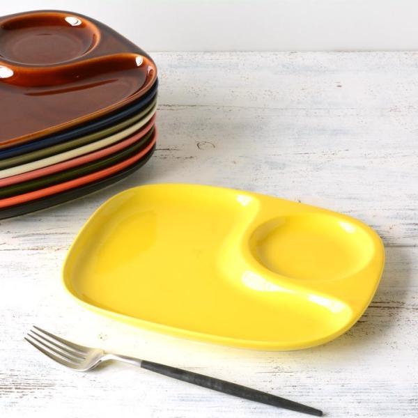 二つ仕切り ランチプレート 23cm 全9color  取り皿 おしゃれ お皿 皿 食器 プレート オシャレ 陶器 美濃焼き 可愛い 北欧 日本製|long-greenlabel|25