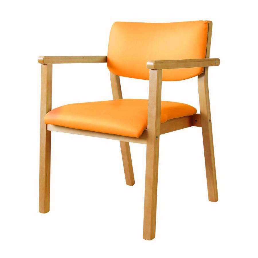ダイニングチェア 木製 完成品 スタッキング 椅子 肘掛 肘付き レザー PVC 介護 施設 病院 北欧 おしゃれ ダイニング デザイン レトロ ウッドチェア FLEUR FLR-1|lookit|26