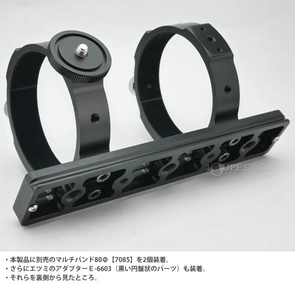 本製品に別売のマルチバンド80Φ【7085】を2個装着
