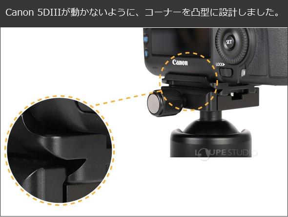 Canon 5DIIIが動かないように、コーナーを凸型に設計しました。