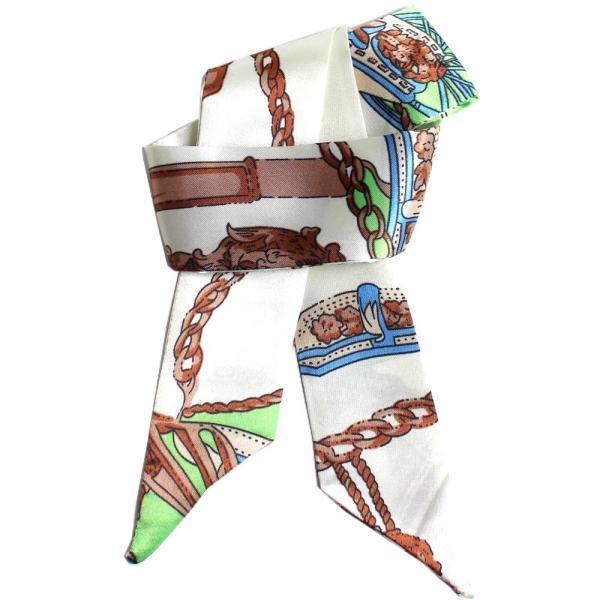 スカーフ レディース 18タイプ ツイリースカーフ サテン素材 チェーン柄 マルチ 細スカーフ 3枚以上で送料無料 ハンダナスカーフ ヘアクセサリー リボン lovegal 28