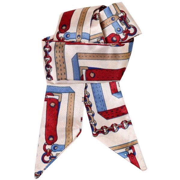 スカーフ レディース 18タイプ ツイリースカーフ サテン素材 チェーン柄 マルチ 細スカーフ 3枚以上で送料無料 ハンダナスカーフ ヘアクセサリー リボン lovegal 30