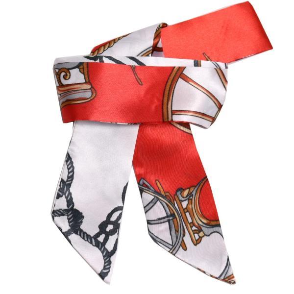 スカーフ レディース 18タイプ ツイリースカーフ サテン素材 チェーン柄 マルチ 細スカーフ 3枚以上で送料無料 ハンダナスカーフ ヘアクセサリー リボン lovegal 33
