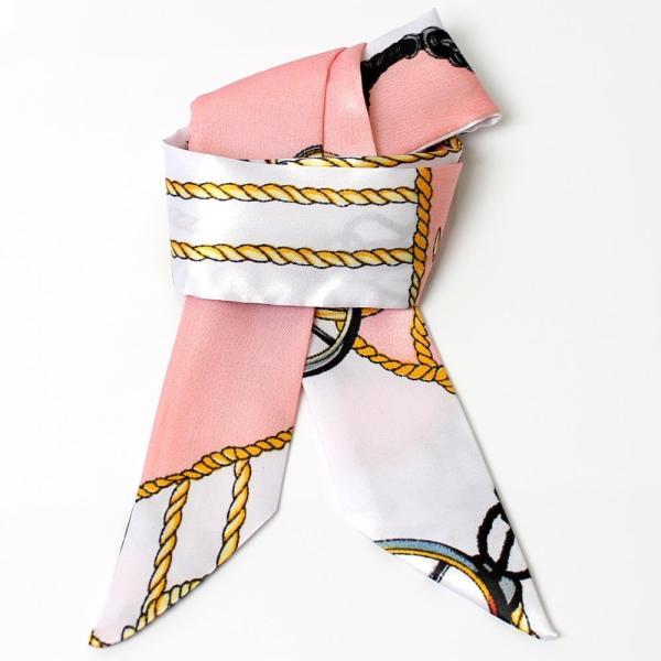 スカーフ レディース 18タイプ ツイリースカーフ サテン素材 チェーン柄 マルチ 細スカーフ 3枚以上で送料無料 ハンダナスカーフ ヘアクセサリー リボン lovegal 35