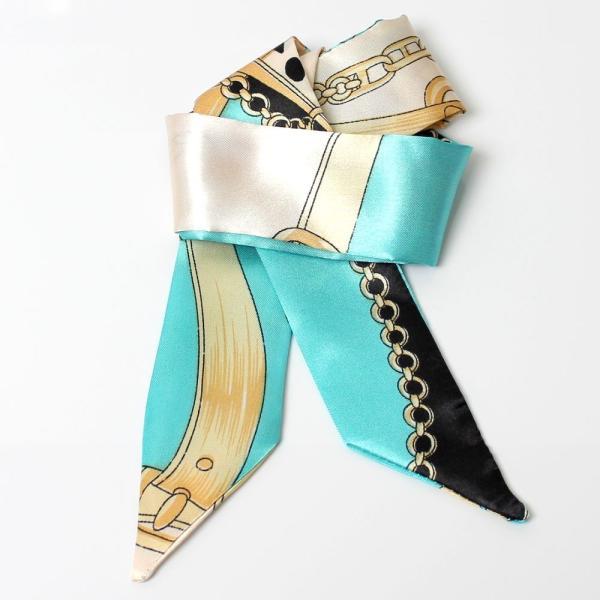 スカーフ レディース 18タイプ ツイリースカーフ サテン素材 チェーン柄 マルチ 細スカーフ 3枚以上で送料無料 ハンダナスカーフ ヘアクセサリー リボン lovegal 18