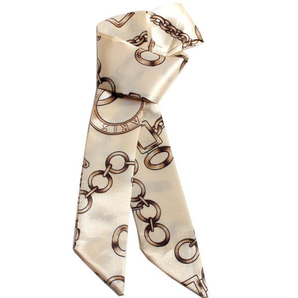 スカーフ レディース 18タイプ ツイリースカーフ サテン素材 チェーン柄 マルチ 細スカーフ 3枚以上で送料無料 ハンダナスカーフ ヘアクセサリー リボン lovegal 19
