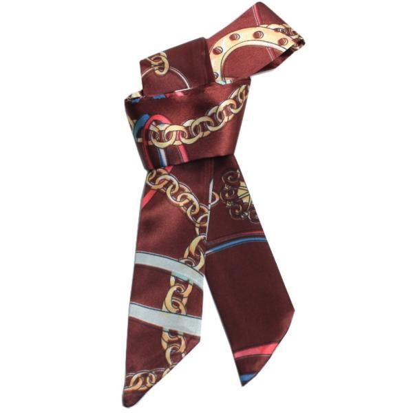 スカーフ レディース 18タイプ ツイリースカーフ サテン素材 チェーン柄 マルチ 細スカーフ 3枚以上で送料無料 ハンダナスカーフ ヘアクセサリー リボン lovegal 20