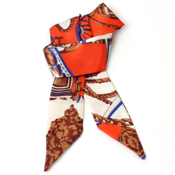 スカーフ レディース 18タイプ ツイリースカーフ サテン素材 チェーン柄 マルチ 細スカーフ 3枚以上で送料無料 ハンダナスカーフ ヘアクセサリー リボン lovegal 24