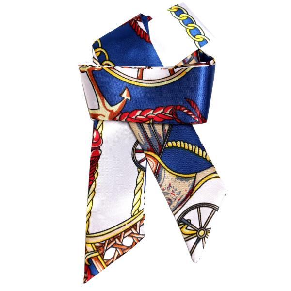スカーフ レディース 18タイプ ツイリースカーフ サテン素材 チェーン柄 マルチ 細スカーフ 3枚以上で送料無料 ハンダナスカーフ ヘアクセサリー リボン lovegal 25
