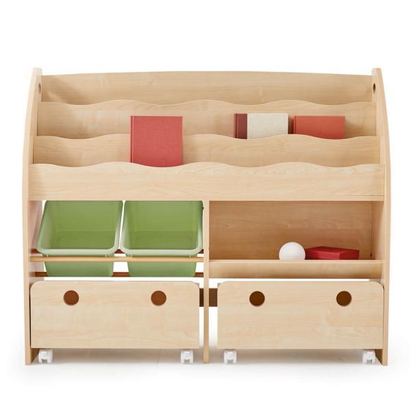 おもちゃ箱 絵本棚 収納 木製 ディスプレイ キッズ おしゃれ ラック ボックス トイ 子供 こども 本棚 シェルフ おもちゃ ワイド ロウヤ LOWYA low-ya 22
