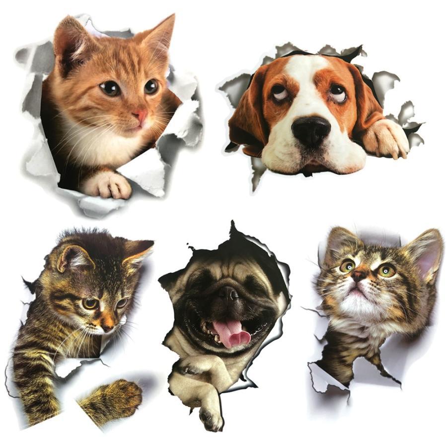 ウォールステッカー ステッカー シール 猫 犬 5枚セット おしゃれ 動物