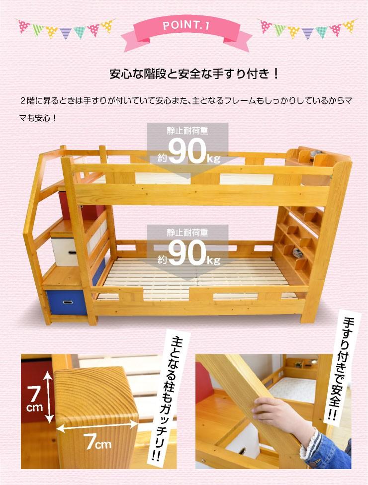 ロータイプ階段式二段ベッド 2段ベッドエヴァンス(本体のみ)コンセント