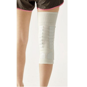 膝サポーター 歩行 補助 履くだけお膝しっかりサポーター 1枚 シロ LL|lunabeauty|04