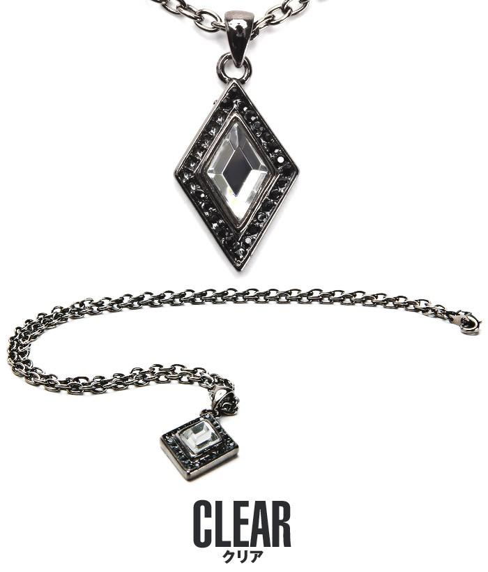 ネックレス メンズ アクセサリー ペンダント アクセ メンズアクセ お兄系 V系 カジュアル キレイめ スクエア 四角 菱形 ダイヤ ダイヤ型 ダイヤモンド ホスト ファッション 7
