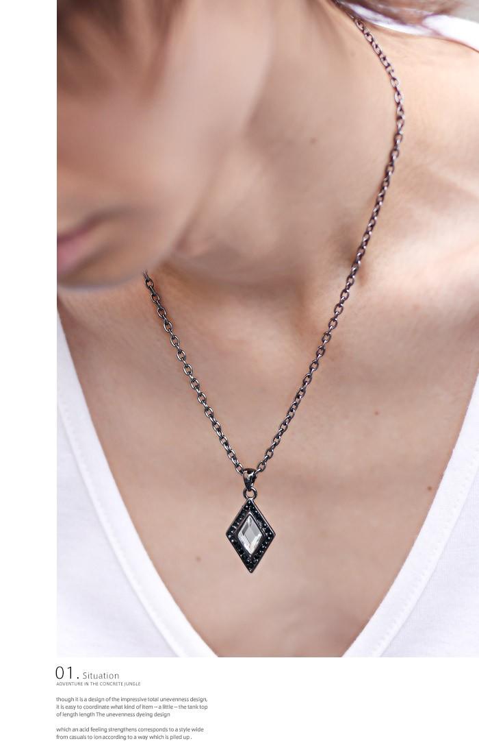 ネックレス メンズ アクセサリー ペンダント アクセ メンズアクセ お兄系 V系 カジュアル キレイめ スクエア 四角 菱形 ダイヤ ダイヤ型 ダイヤモンド ホスト ファッション 2