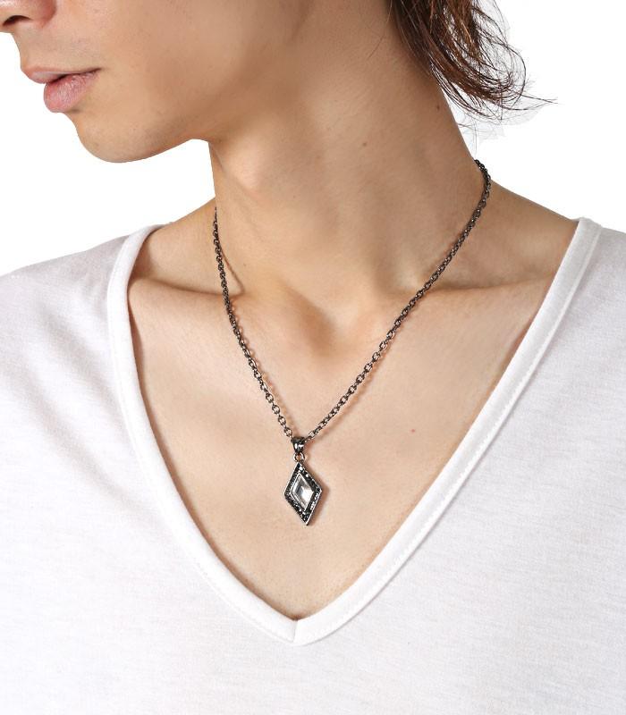 ネックレス メンズ アクセサリー ペンダント アクセ メンズアクセ お兄系 V系 カジュアル キレイめ スクエア 四角 菱形 ダイヤ ダイヤ型 ダイヤモンド ホスト ファッション 8