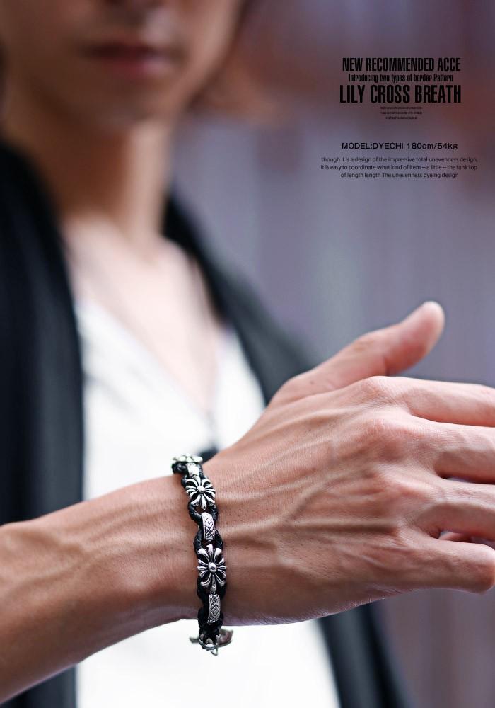 ブレスレット メンズ アクセサリー アクセ メンズアクセ bracelet リリー 百合 紋章 クロス 十字架 シルバー お兄系 V系 Vホス Vカジ ロック ROCK ビジュアル ファッション 5