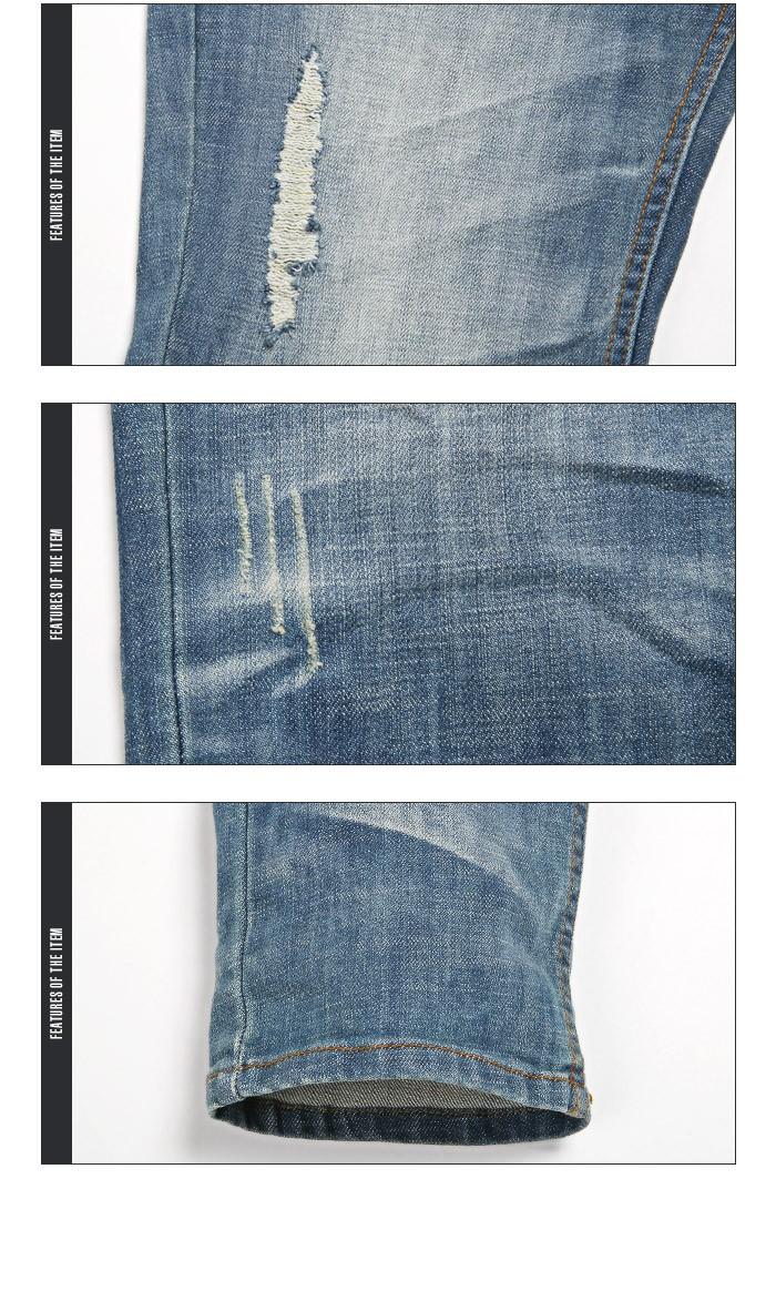 デニムパンツ ジーンズ メンズ ダメージ ストレッチデニム デニム パンツ ストレート スリム ヒゲ加工 ヴィンテージ ストレッチ サンドブラスト ジーパン クラッシュ ビター系 11
