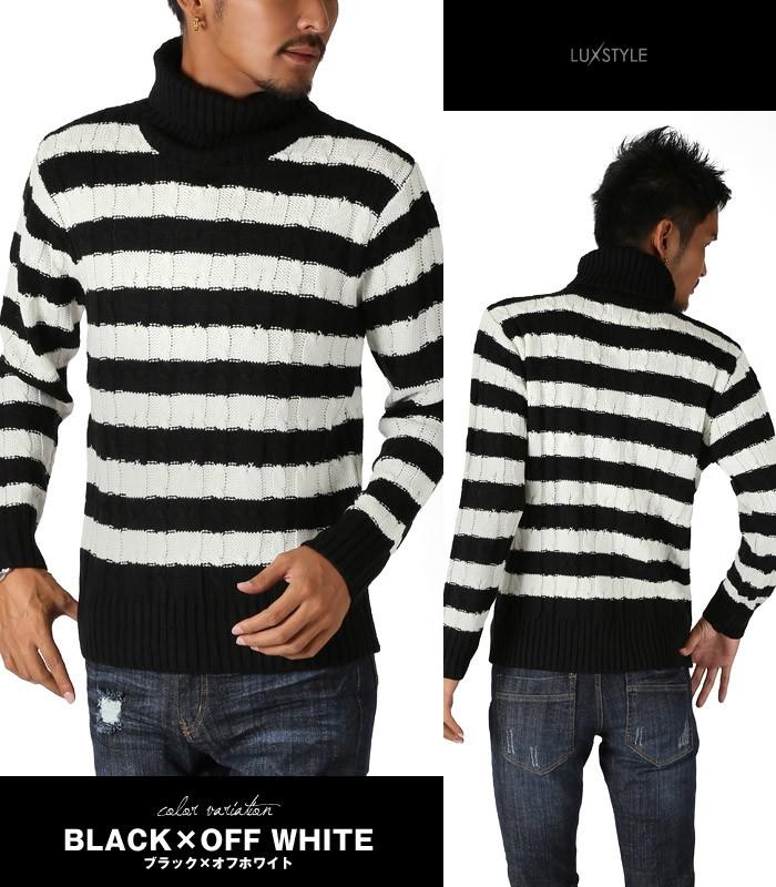 BITTER タートルネック ニット セーター メンズ ケーブル編み 定番 無地 お兄系 ビター ファッション 冬 ブラック×オフホワイト