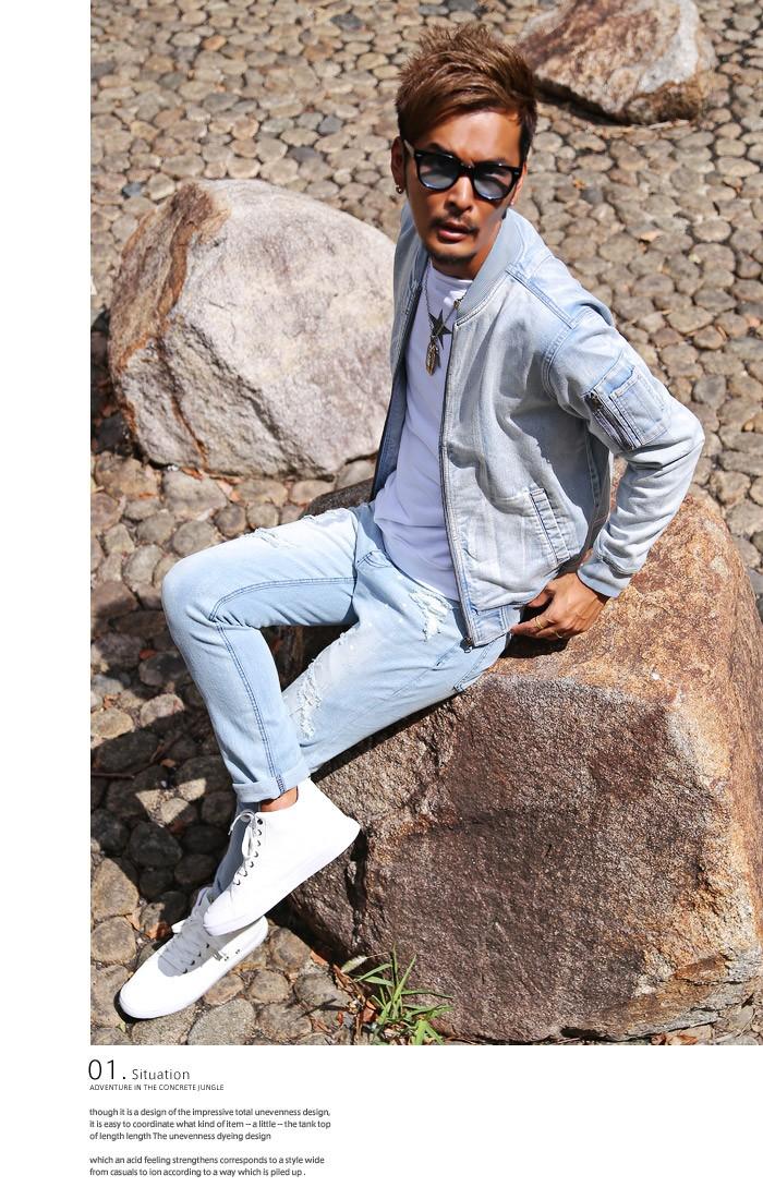 BITTER MA-1 デニム ジャケット メンズ MA1 デニムジャケット カットデニム フライトジャケット ブルゾン アウター ストレッチ ブリーチ インディゴ リブ ミリタリージャケット お兄系 ビター系 ファッション 服 通販 秋 2