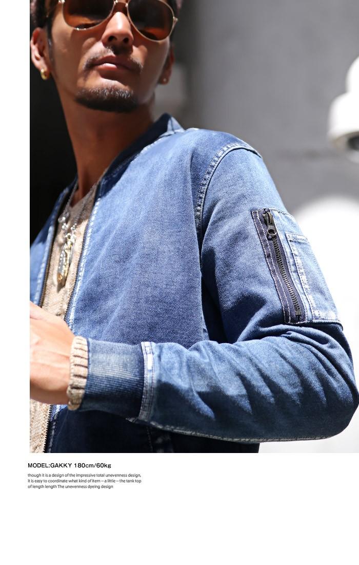 BITTER MA-1 デニム ジャケット メンズ MA1 デニムジャケット カットデニム フライトジャケット ブルゾン アウター ストレッチ ブリーチ インディゴ リブ ミリタリージャケット お兄系 ビター系 ファッション 服 通販 秋 5
