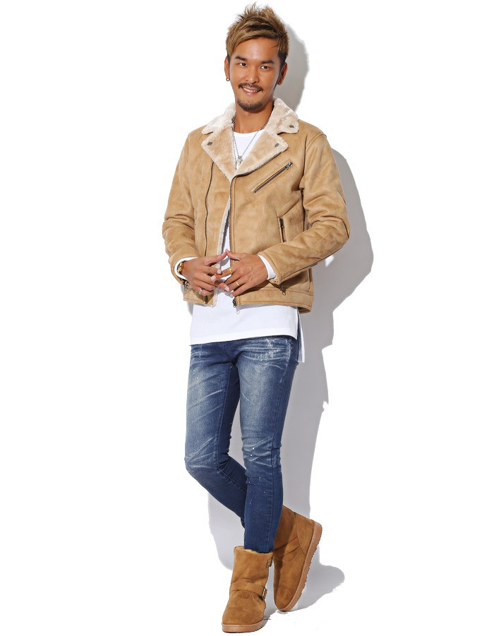 BITTER ビター系 ムートンブーツ メンズ 靴 ブーツ ムートン エンジニアブーツ ショートブーツ ボア ファー シューズ スウェード フェイク カモフラ 迷彩 カモ柄 デニム お兄系 ファッション 8