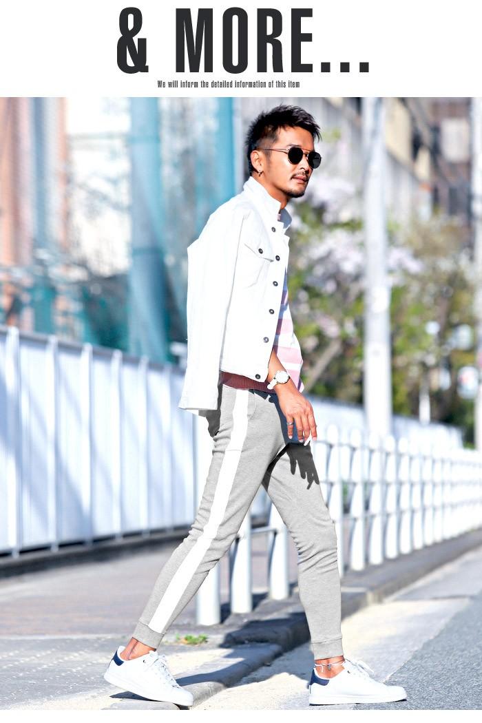 ジョガーパンツ メンズ スウェットパンツ ライン サイドライン スリム イージー 裾リブ BITTER ビター系 ジョガー スウェット スエット パンツ 14