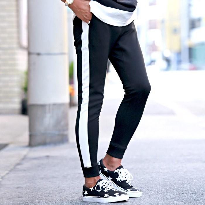 ジョガーパンツ メンズ スウェットパンツ ライン サイドライン スリム イージー 裾リブ BITTER ビター系 ジョガー スウェット スエット パンツ 2