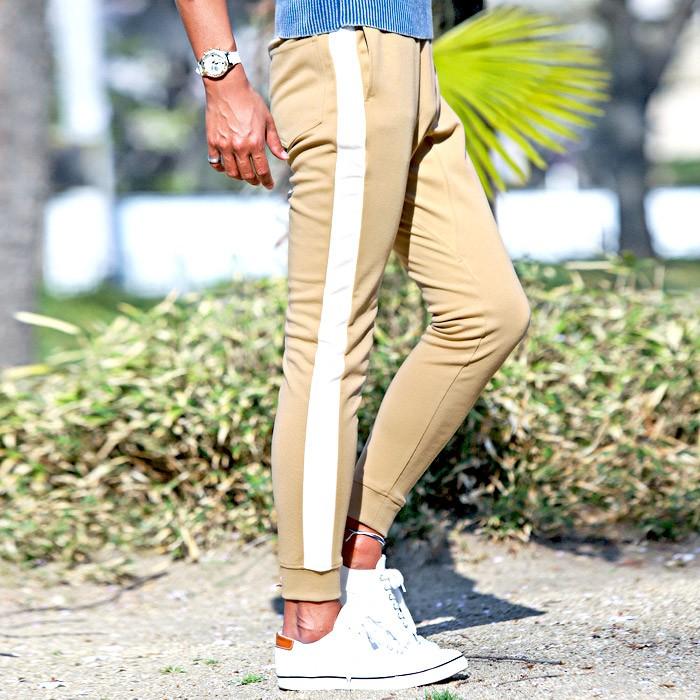 ジョガーパンツ メンズ スウェットパンツ ライン サイドライン スリム イージー 裾リブ BITTER ビター系 ジョガー スウェット スエット パンツ 6