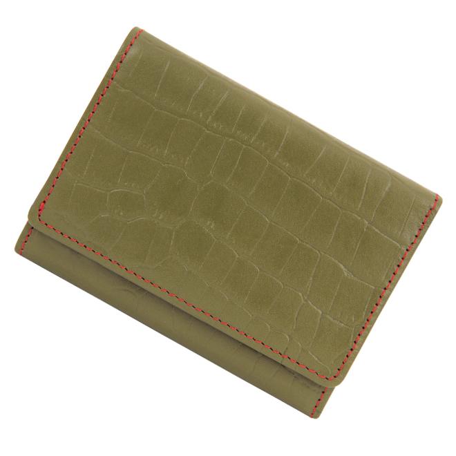 極小財布 クロコ 型押し/牛革 カーキ×レッド 12,000円(税込 13,200円)