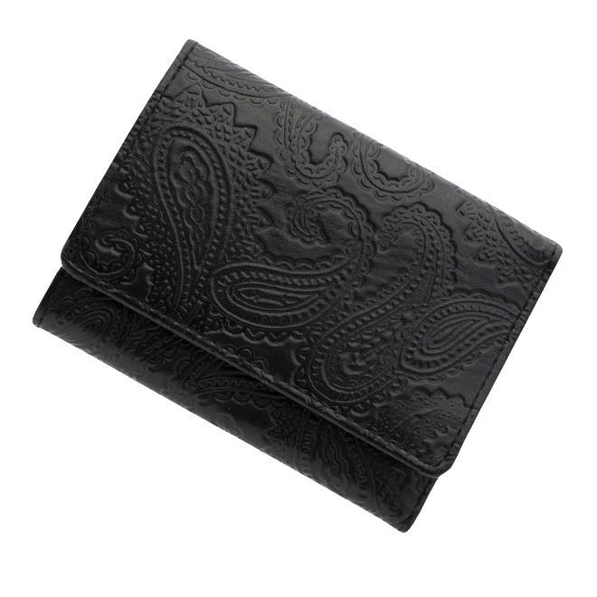 極小財布 ペイズリー型押し/牛革 ブラック \14,000(税抜)