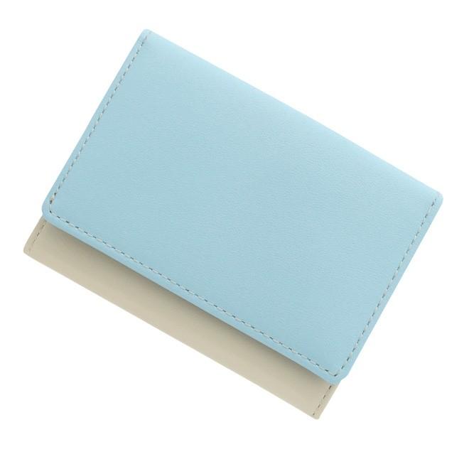 極小財布 スムース/牛革 バイカラー ライトブルー×アイボリー 16,000円(税込 17,600円)