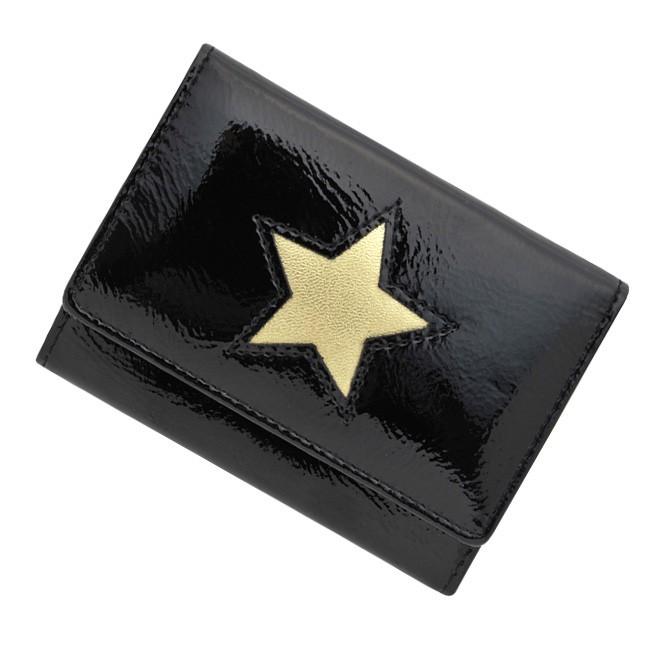 極小財布 進藤やす子コラボ「星型★エナメルブラック」 牛革 \14,000(税抜)