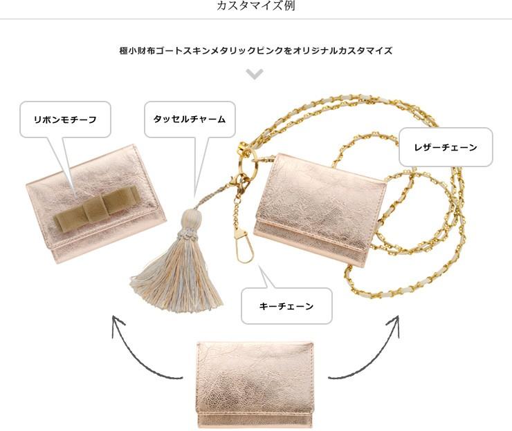 カスタマイズ例。極小財布ゴートスキンメタリックピンクをオリジナルカスタマイズ