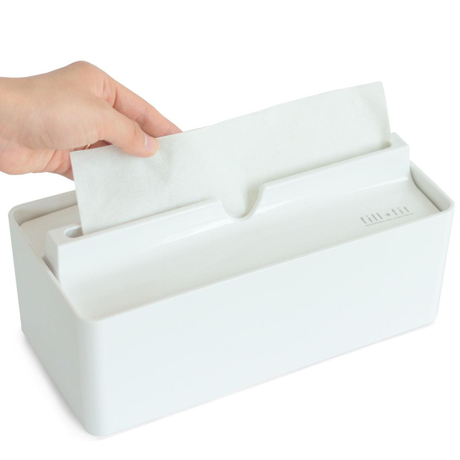 ティッシュケース fill+fit ペーパータオルケース   (ウイルス対策 ティッシュケース 詰め替え 入れ替え おしゃれ 白 ホワイト キッチンペーパー)  オカ m-rug 23