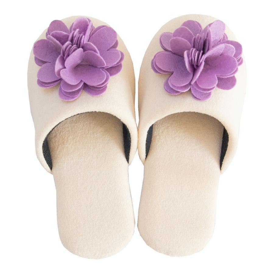 スリッパ フェルトのお花がキュートなスリッパ ジュエルフラワー (暖か あたたか ルームシューズ 洗える タオル地 おしゃれ 花 コサージュ)  オカ|m-rug|19