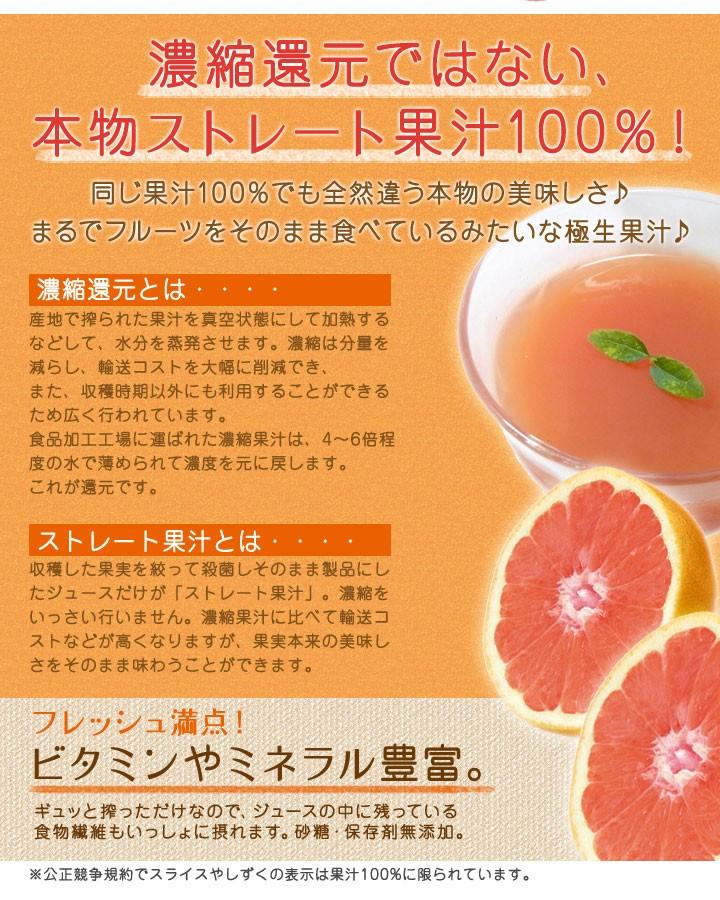 濃縮還元ではない、本物ストレート果汁100%!同じ果汁100%でも全然違う本物の美味しさ♪まるでフルーツをそのまま食べているみたいな極生果汁♪