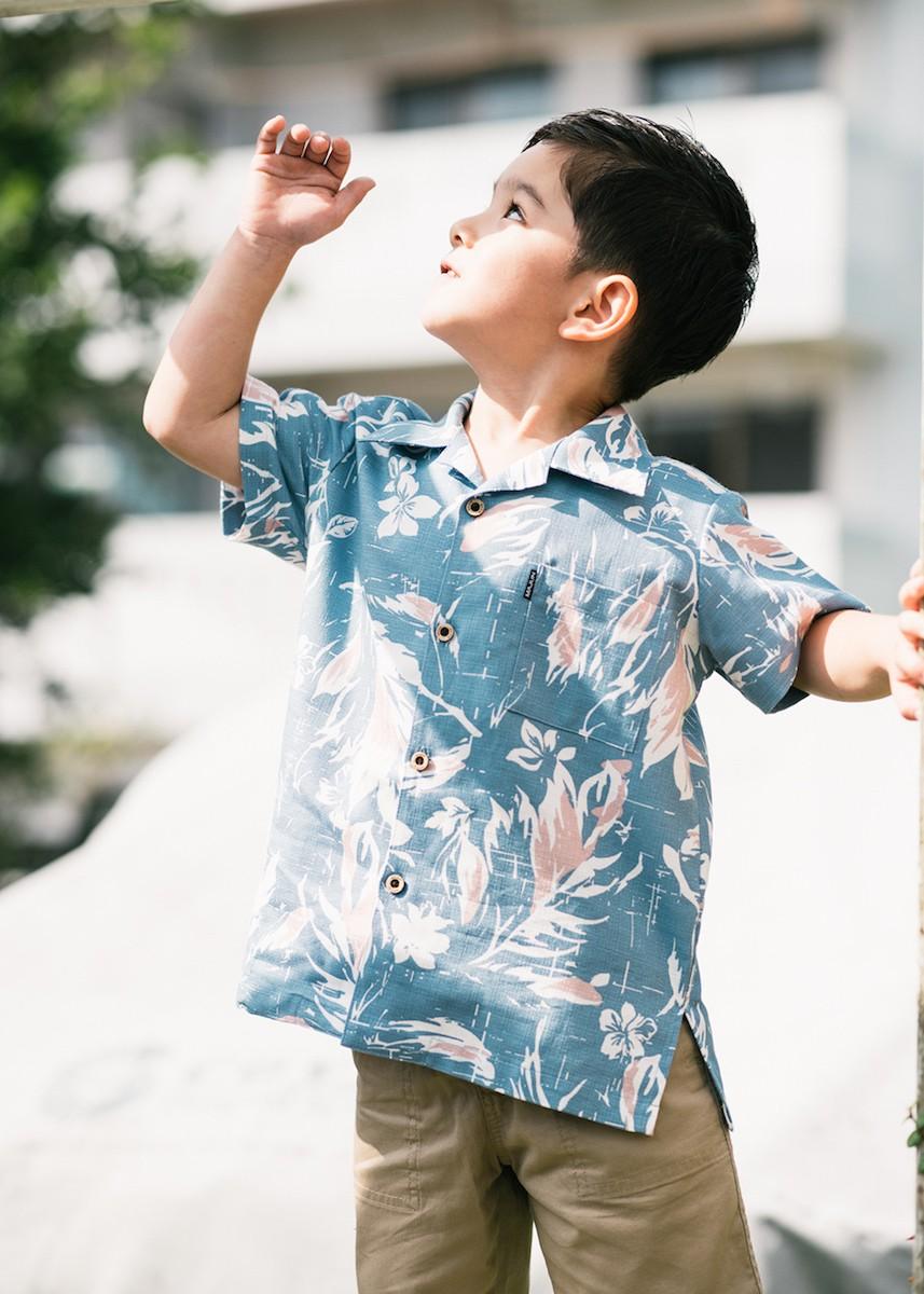 かりゆしウェア アロハシャツ かりゆし 結婚式 MAJUN マジュン ミッドサマーブーケ(キッズシャツ)