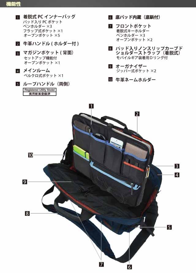 ビジネスバッグのマンハッタンパッセージ 通勤カバン 鞄 かばん 軽量 出張 #8170 スペック画像02