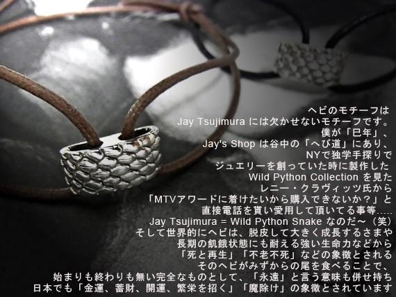 ヘビのモチーフは Jay Tsujimura には欠かせないモチーフです。 僕が「巳年」、Jay's Shop は谷中の「へび道」にあり、 NYで独学手探りでジュエリーを創っていた時に製作した Wild Python Collection を見たレニー・クラヴィッツ氏から「MTVアワードに着けたいから購入できないか?」と直接電話を貰い愛用して頂いてる事等..... Jay Tsujimura = Wild Python Snake なのだ〜(笑) そして世界的にヘビは、脱皮して大きく成長するさまや、長期の飢餓状態にも耐える強い生命力などから、「死と再生」「不老不死」などの象徴とされる。 そのヘビがみずからの尾を食べることで、始まりも終わりも無い完全なものとして、「永遠」と言う意味も併せ持つ。 日本でも「金運、蓄財、開運、繁栄を招く」「魔除け」の象徴とされています。