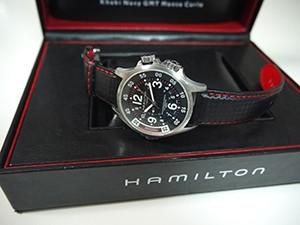 時計ベルトをモレラートのバイキングに交換したハミルトンKHAKI NAVY GMT MONTE-CARLO