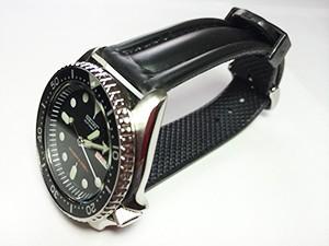 時計ベルトをモレラートのCAYMANに交換したセイコー ダイバー