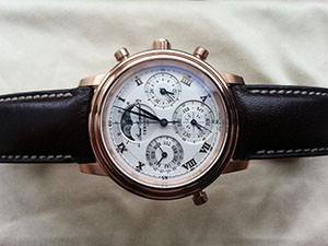 時計ベルトをモレラートのエリートに交換した天賞堂Grand Complication PINK GOLD