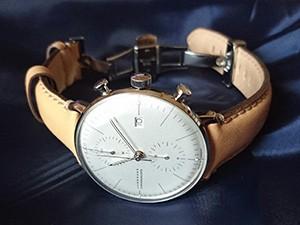 時計ベルトをモレラートのジョルジオーネに交換したJUNGHANS マックスビル クロノスコープ
