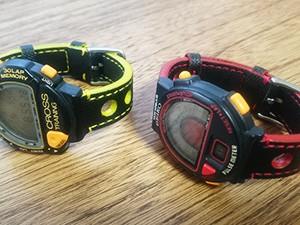 時計ベルトを BOWLING (ボーリング) に交換したSEIKOデジタルウオッチ
